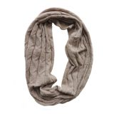 Circle scarf 100% baby alpaca unisex, cable pattern knitted scarf, light taupe