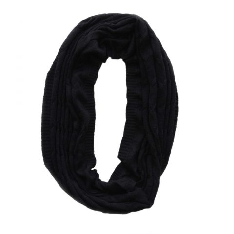 Circle scarf 100% baby alpaca unisex, cable pattern knitted scarf, black
