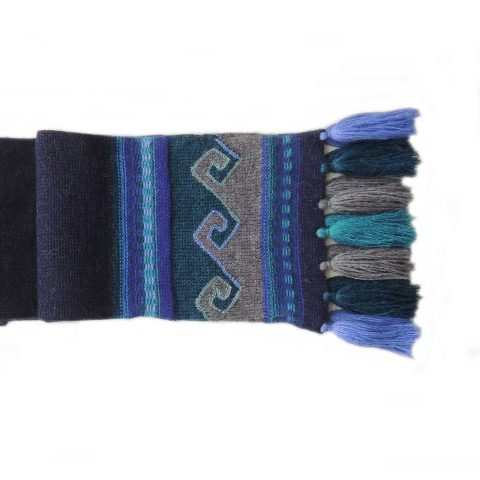 Women's winter scarf double knitted with ethnic pattern and fringes, 100% baby alpaca
