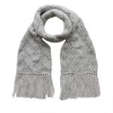 Women's scarf chunky handknitted with long fringes in a soft alpaca blend. plus free hat