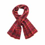 Scarf 100% alpaca with ethinic pattern Jacquard knitted red - multicolor unisex