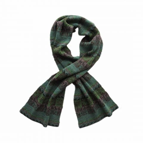 Scarf 100% alpaca with ethinic pattern Jacquard knitted green - multicolor unisex