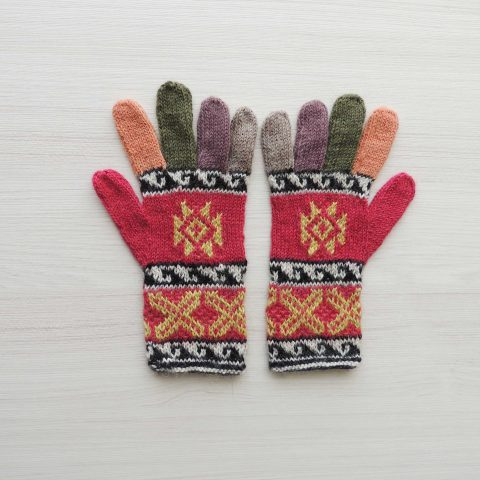 Women's gloves, warm full finger gloves 100% alpaca natural dyed colors