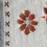 Wrist warmers fine knitted, fingerless gloves with embroidered flower detail,alpaca blend