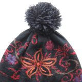 Women's beanie / hat black - red with pompon and embroidered details, alpaca blend