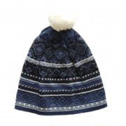 Women's beanie / hat blue - white with pompon jacquard knitted, alpaca blend
