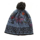 Women's beanie / hat blue - black with pompon and embroidered details, alpaca blend
