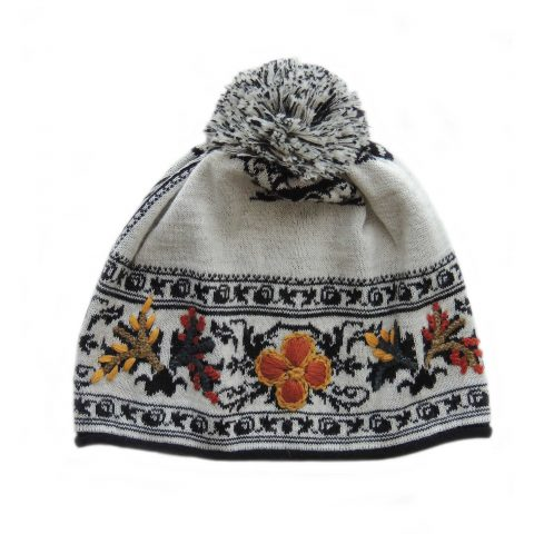 Women's beanie / hat creme white - black with pompon and embroidered details, alpaca blend