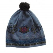 Women's beanie / hat steel blue- black with pompon and embroidered details, alpaca blend
