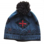 Fine knitted beanie / hat with jacquard pattern blue -black with pompon and hand embroidered graphic detail ( multicolor) on the frontside.