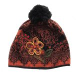 Women's beanie / hat brown - black with pompon and embroidered details, alpaca blend