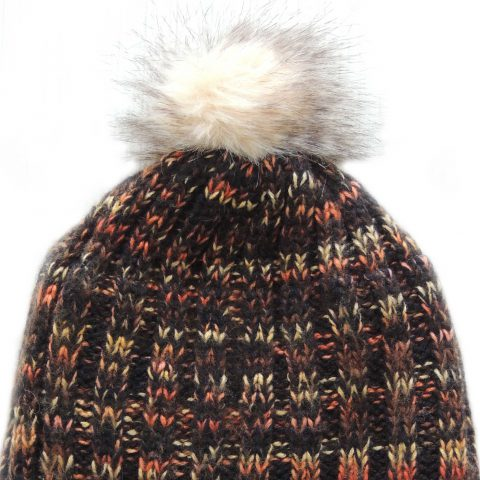 Beanie / hat sheep wool, with pompon, lined with faux fur, handmade. unisex