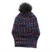 Beanie / hat sheep wool, with pompon, lined handmade