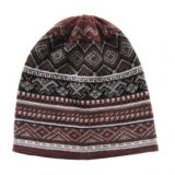Beanie / hat unisex brown - white jacquard knitted, alpaca blend