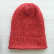 Beanie hat alpaca blend red double knitted extra warm, unisex beanie, also to wear as a short scarf