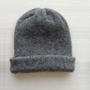Beanie hat alpaca blend dark gray double knitted extra warm, unisex beanie, also to wear as a short scarf