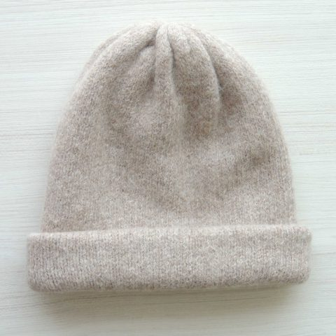 Beanie hat felted alpaca blend creme white double knitted, also to wear as a short scarf