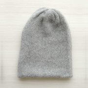 Beanie hat alpaca blend gray double knitted extra warm, unisex beanie, also to wear as a short scarf
