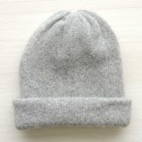 Beanie hat felted alpaca blend oatmeal double knitted, also to wear as a short scarf