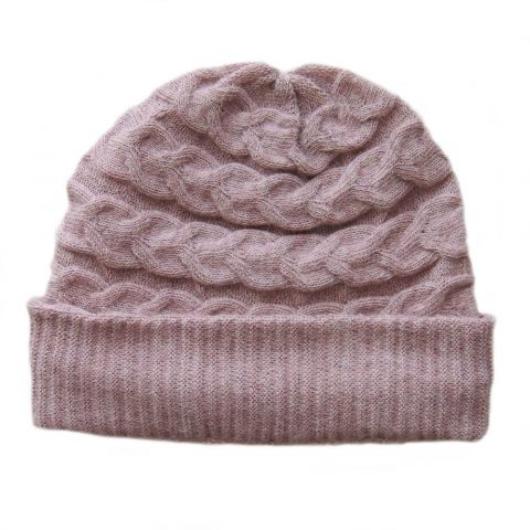 Hat- beanie 100% baby alpaca unisex, cable pattern knitted hat, pink