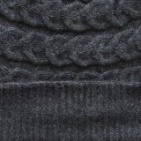 Hat- beanie 100% baby alpaca unisex, cable pattern knitted hat, dark gray