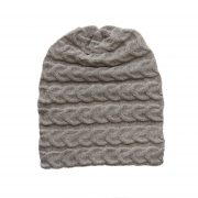 Hat- beanie 100% baby alpaca unisex, cable pattern knitted hat light taupe