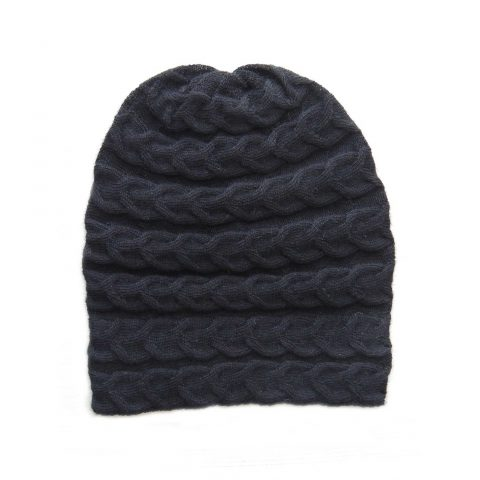 Hat- beanie 100% baby alpaca unisex, cable pattern knitted hat, black