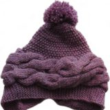 Winter warm hand knitted hat - chullo alpaca with pompon alpaca blend