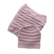 Gift set hat + scarf 100% baby alpaca unisex, cable pattern knitted hat, pink