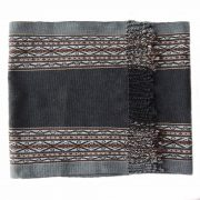 Table runner / bed runner Hand woven in Peru alpaca wool blend natural colors gray shades