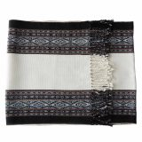 Table runner / bed runner Hand woven in Peru alpaca wool blend natural colors white / gray