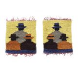 Woolen Adean tapestry, three women, natural dyes made by Peruvian artisans set of two 4.5 x 5 inch