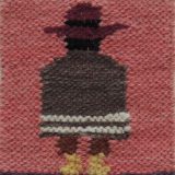 Woolen Adean tapestry, men, natural dyes made by Peruvian artisans set of two 4.5 x 5 inch