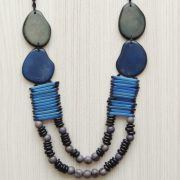 Tagua necklace organic tagua jewelry blue - gray