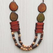 Tagua necklace organic tagua jewelry orange - green