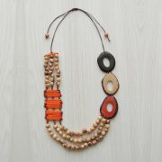 Tagua necklace organic tagua jewelry orange