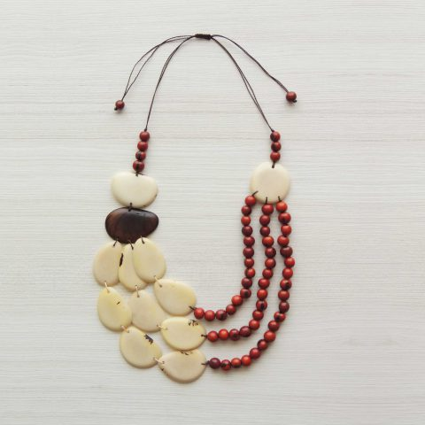 Tagua necklace organic tagua jewelry white-red