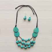 Jewelry Necklace + Earrings made of Organic Tagua