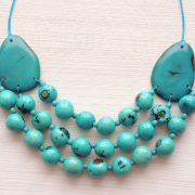 Tagua Jewelry Necklace  made of Organic Tagua Turquise