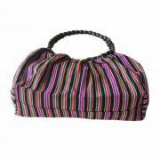 Ethnic bag with Peruvian colorful striped andean pattern and wooden beaded handle, handmade