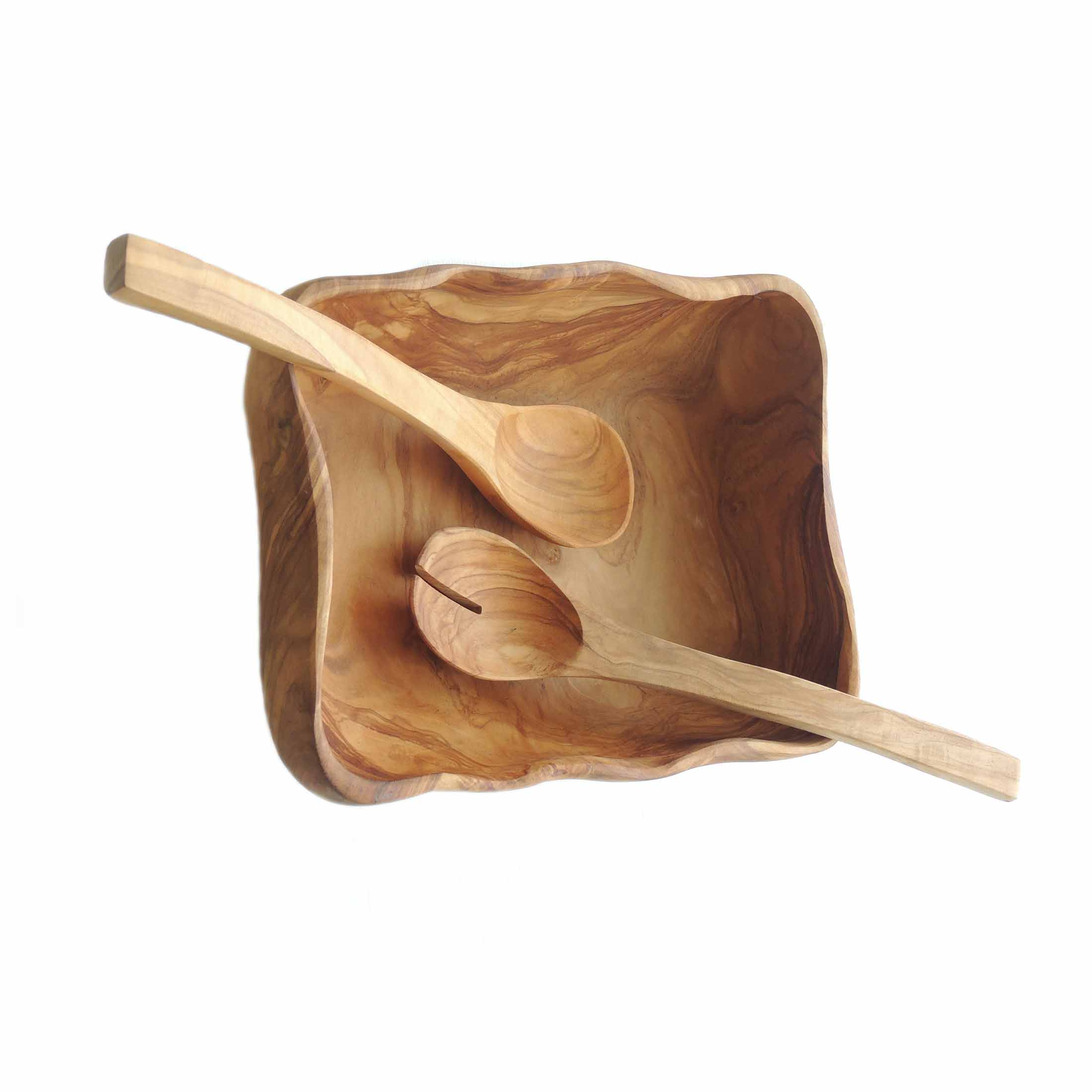 Olive wood salad bowl with salad server in olive wood handcrafted in Peru