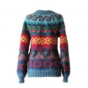 Women's  woollen sweater, handmade  sweater with colorful pattern and crew neck