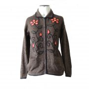 "Women""s cardigan alpaca wool blend with embroidered flowers"