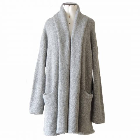 Women's Cardigan, oversized with shawl collar in capote coat style without hood,