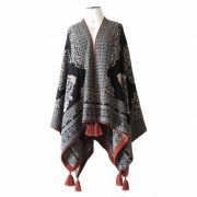 Ruana wrap baby alpaca jacquard knitted with pattern, reversible with tassels
