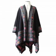 Ruana wrap baby alpaca jacquard knitted black with colorful floral pattern