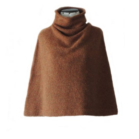 Poncho / scarf alpaca blend color Tan women poncho also to wear as a scarf