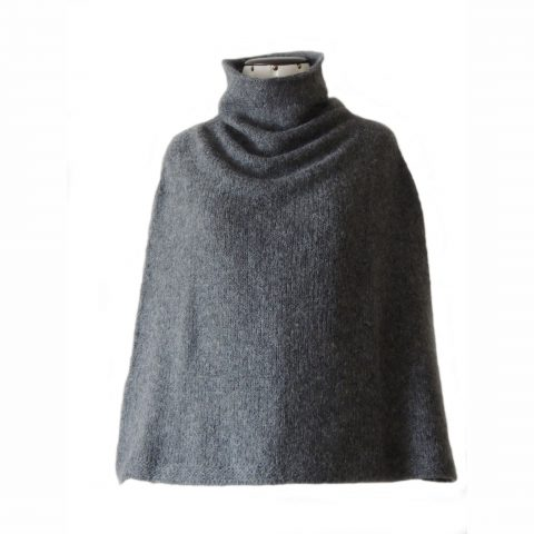 Poncho / scarf alpaca blend color gray women poncho also to wear as a scarf