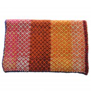 Peruvian frazada, handwoven natural woolen blanket, rug, Frazada with colorful design