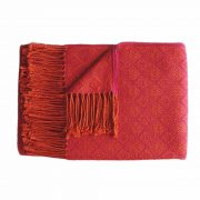 Alpaca Blanket / Throw with fringes orange-red, alpaca blend throw BUY 2 30% OFF